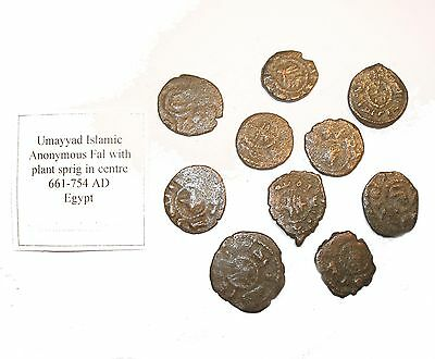 Ancient Islamic hoard coin Umayyad anonymous copper fal 661-754 A.D. w/ SPRIG