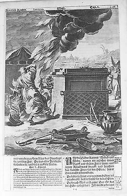 OLD ANTIQUE PRINT LUNEBURG BIBLE by M SCHEITS c1672 MOSES BURNING BUSH ENGRAVING