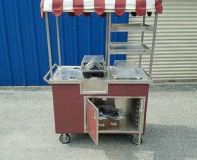 Coffee cater coffee cart/pastry cart stainless steel with drain.