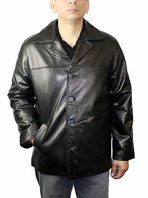 Men Genuine Baby Soft Lamb Leather Buttons Closure Jacket Style LM 332