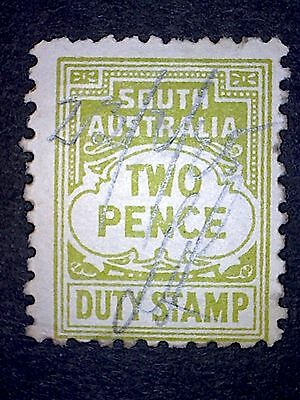 South Australia Two Pence Duty Stamp,Pen Cancelled