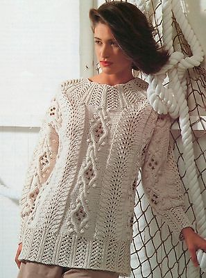 """(815) Ladies Knitting Pattern Cable Lace Bobble Sweater 32-42"""""""