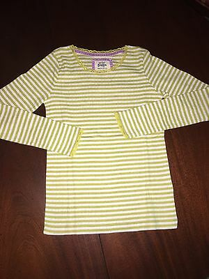 NWT 9/10 Mini Boden L/S Mustard Striped Pointelle Tee w/ Lace Accents