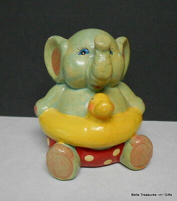 Enesco Elephant Coin Bank with Rubber Ducky Floaty