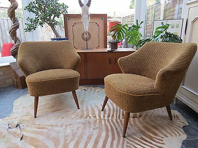 Pair Original Vintage East German Cocktail Chairs With Arms C1965 Oc16/26