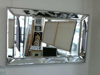 New LARGE SILVER  BEADED FRENCH PROVINCIAL BEVELLED MIRROR (500mm X1400mm)