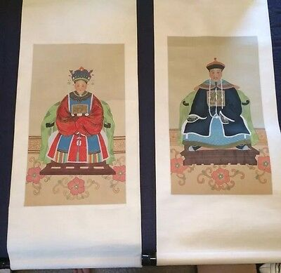 Chinese Scroll Paintings on silk man and woman ancestor