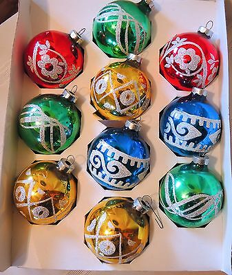Vintage Holly 10 Glass Glitter Christmas Ornaments