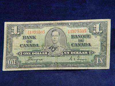 1937 CANADA ONE  DOLLAR BILL 1937 BANK NOTE  ( le 2015756)