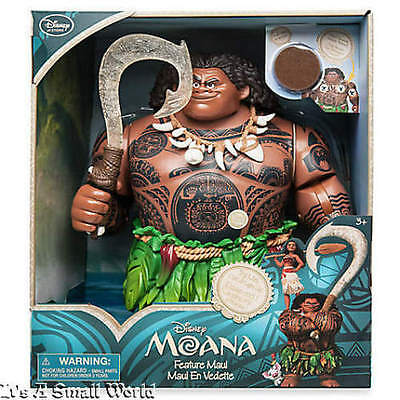 "Disney Store Exclusive Moana Talking Maui Action Figure Articulated Size 12"" NWT"