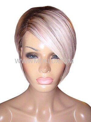 Glueless Human Hair Wig Front Lace Short Platinum Silver Violet Blonde Silk Top