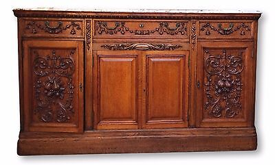 Antique French Carved Marble Top Buffet-circa 1800's