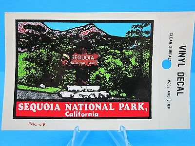"Vintage... ""Sequoia National Park California""  Sticker / Decal  (Red Wood Trees)"