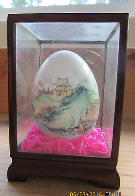VNTAGE Collectible JAPANESE HANDPAINTED EGG IN DISPLAY BOX
