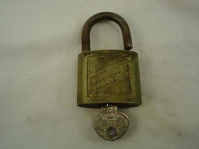 Vintage Reese Brass #3 Lock w/ Key marked 803 working condition  #G