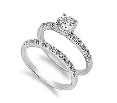 Solitaire Sterling Silver 1.25ct Simulated Diamond Sz 7 Engagement Ring Set S12