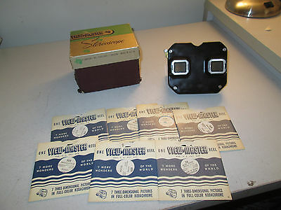 Very Early Vintage View Master Stereoscope With 7 Reels And Box Rare