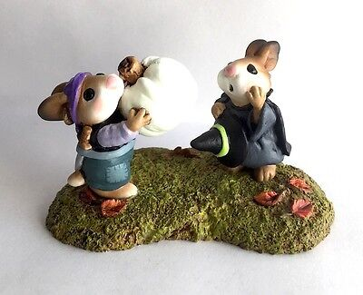 Teaberry Meadow  Witch And Pirate Bunnies Like Wee Forest Folk Figurine Mint