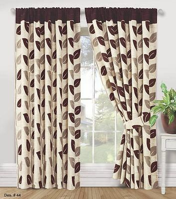 Stylish Pair Of Ready Made Curtains, Ring Top Fully Lined With Two Tie Backs 44