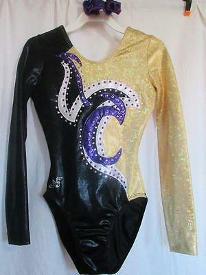 Alpha Factor Gold Crystals ASM LS Gymnastics Foil Leotard