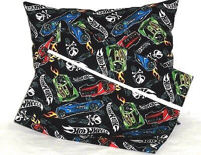 Hot Wheels Cars Toddler Pillow and Pillowcase on Black Cotton HW24 New Handmade