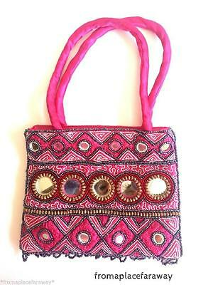 Vintage Indian Satin silk mirrored and beaded handmade purse in hot pink