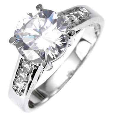 Solitaire 18K White Gold 2.6ct Simulated Diamond Size 9 Engagement Ring G22