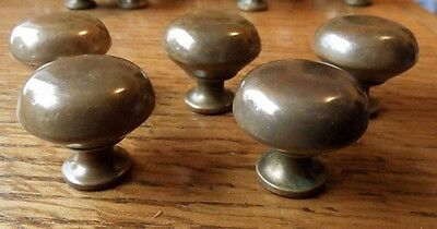 Set Of 5 Antique Vintage Brass Pull Knobs.... Nice Rich Aged Golden Patina !!