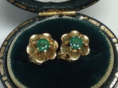 14K Yellow Gold Round Natural Emerald Flower Earrings