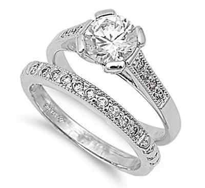 Solitaire 18K White Gold GP Simulated Diamond Size 5 Engagement Ring Set S2