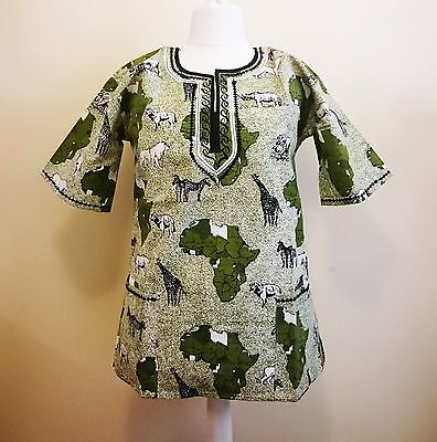 African Animal Pattern Shirt - Green Africa