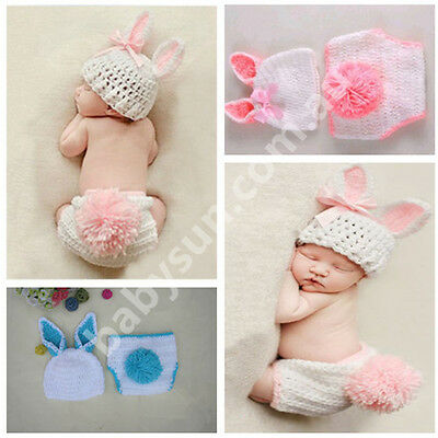 Cute Rabbit Costume Newborn baby Photography Prop Cloth Handmade Knit Crochet D3