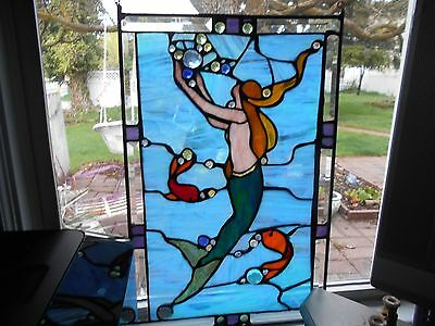 """Mermaid With Bubbles  Fish Ocean 15""""x23 1/4 """" Tiffany Real Stained Glass Window"""