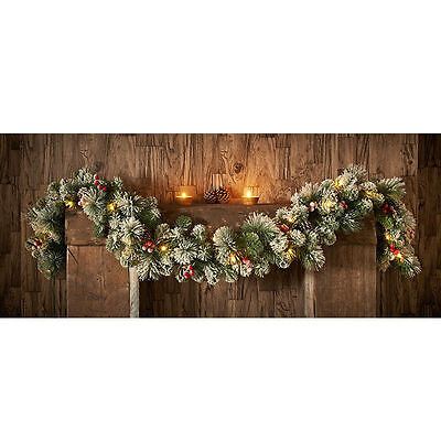 Pre-lit Snowy Artificial Christmas Garland - 6ft