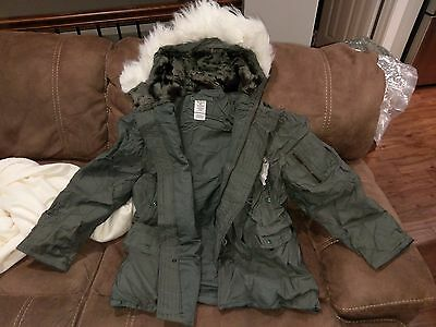 Military Parka Jacket Coat N-3B N3B Extreme Cold Weather ECW Large Snorkel NEW