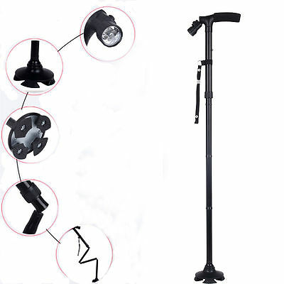LED Aluminum Folding Crutches Handle Cane Elderly Climbing Walking Sticks Adjust