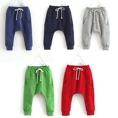 Cute Baby Boy Girl Cotton Harem Pants Kids Toddler Solid Stretchy Trousers 2-7Y