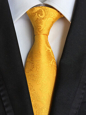 XT014 classic mens neck ties 100% silk wedding party gold yellow paisley necktie