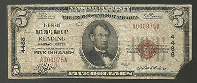 1929 $5 The First National Bank Of Reading, Ma National Currency Charter #4488