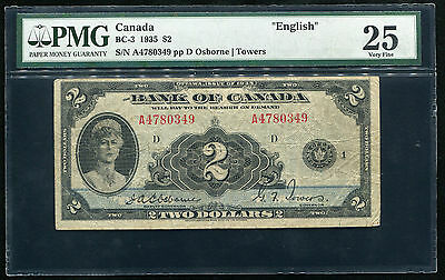 """Bc-3 1935 $2 """"english"""" Bank Of Canada Banknote Pmg Very Fine-25"""