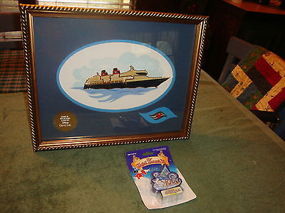 Disney Bon Voyage Cruise Line Seven Pin Set Gold Framed Aaa Exclusive Very Nice