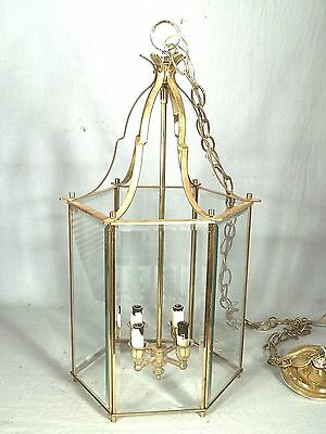 Mid Century Modern 6 Sided Steeple Top Bevel Glass Brass Chandelier