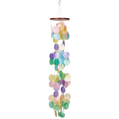 Capiz Sea Shell Wind chime - Natural Shells Brightly Dyed - Colorful Waterfall
