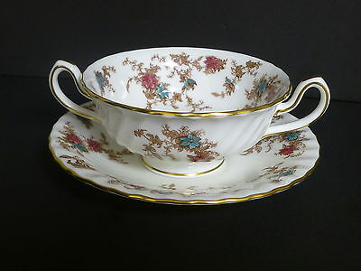 Minton Ancestral Footed Cream Soup Bowl & Saucer S376 - 6 Available - (214)