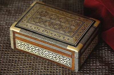 Old Middle Eastern Inlaid Wooden Box …beautiful collector's piece