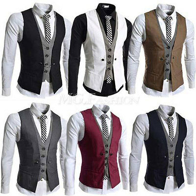 Fashion Mens Slim Party Formal Wedding Waistcoat Casual Chest Dinner Suit Vest