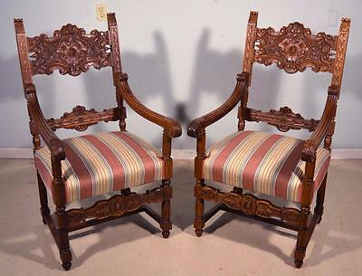 Pair of Antique Italian Renaissance Revival Dining Chairs/Armchairs in Walnut