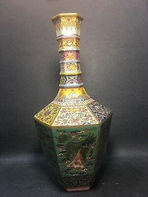 Chinese 8 sides vase with dragon, Phoenix & chili antique