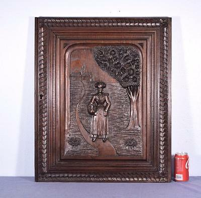 French Antique Breton (Brittany) Panel Chestnut Wood with Standing Breton Woman