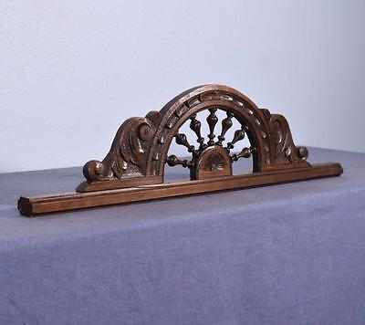 "27"" French Antique Breton Pediment/Crest w/ Ship's Wheel in Chestnut Wood"